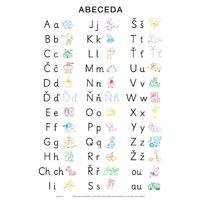 Abeceda - nevázané písmo - nástěnná tabule bez lišt 69x99cm