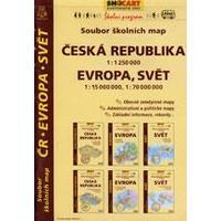 Česká republika 1:1 250 000, Evropa,svět 1:15 000 000,1:70 000 000 soubor map