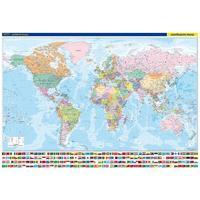 Svět - nástěnná politická mapa s vlajkami