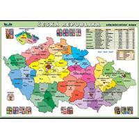 Česká republika - administrativní mapa XL - nástěnný obraz /100x70cm/včetně lišt