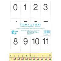 Číslice a tečky NOVĚ - pro 1.ročník ZŠ  (formát 4xA4 číselné osy,měřítko,obrazce