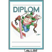 """Diplom A5 """"Lyžař""""  (obj.č. 4)"""