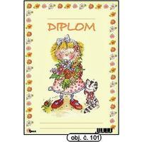 """Diplom A5 """"Dívka s kyticí""""  (obj.č. 101)"""