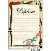 """Diplom A4 """"Hudební""""  (obj.č. 203)"""