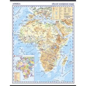 Afrika - obecně zeměpisná (fyzická) nástěnná mapa,  960x1360mm