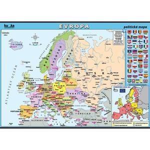 Evropa - politická mapa XL - nástěnný obraz /100x70cm/  včetně lišt